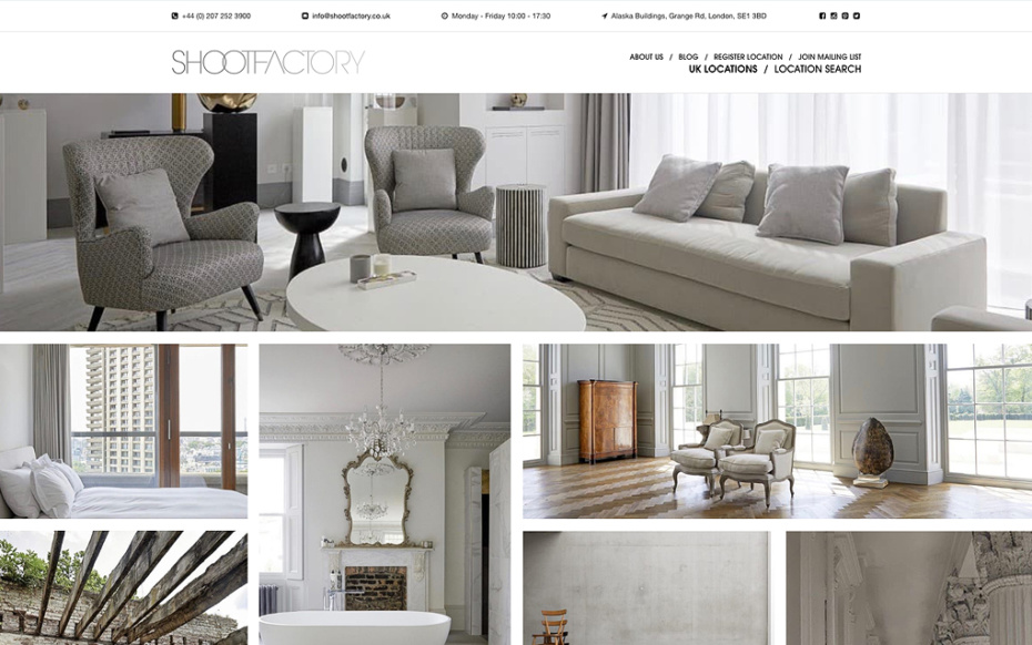 Shootfactory Location Agency - Bespoke Website Design & Development