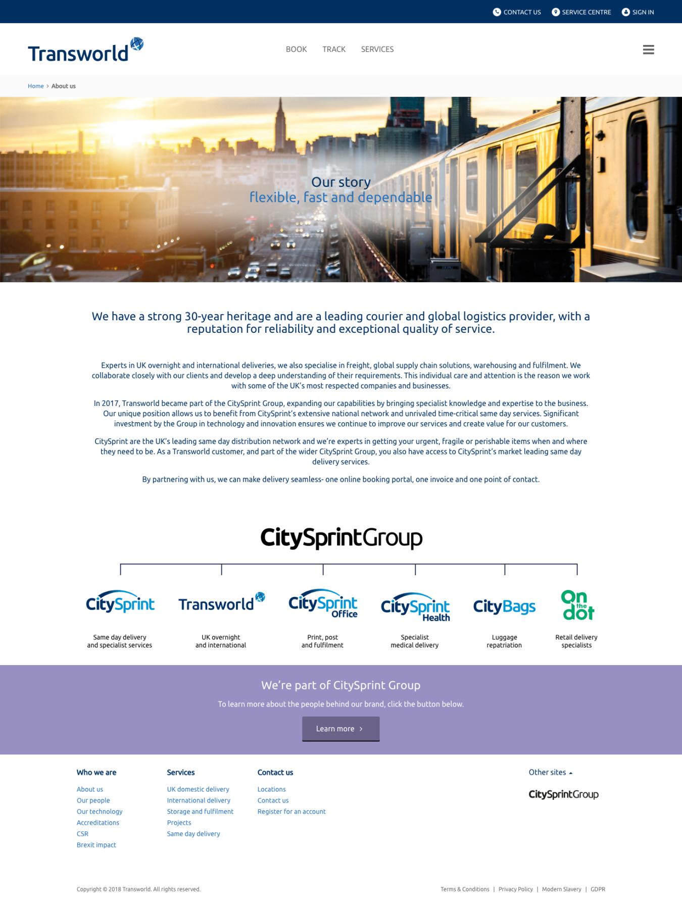 Transworld Couriers - Bespoke Website Development