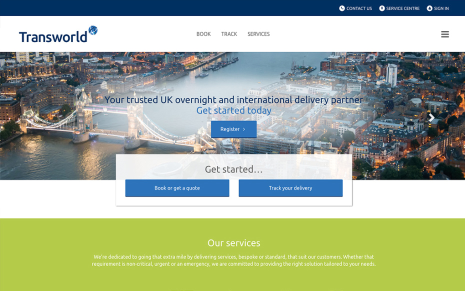 Transworld Couriers - Bespoke Website Development